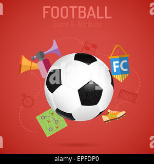 Football Poster with Soccer Ball, Flags and Attributes Icons. 3D Realistic and Flat icons. Can be used for flyer, - Stock Photo