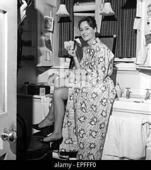 Actress Rosalind Worth backstage at the Ambassadors Theatre in London before her performance in the Agatha Christie - Stock Photo