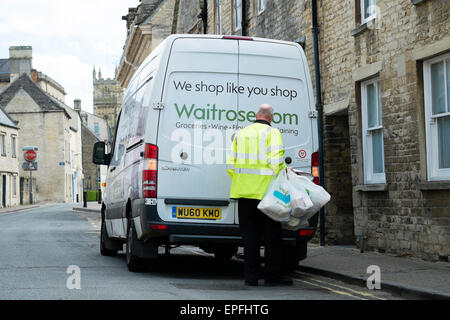 Waitrose home delivery van in UK depicting a member of staff called ...