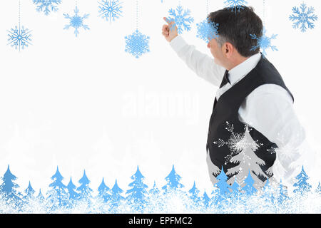 Composite image of waiter pointing something - Stock Photo