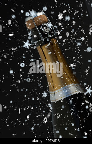 Composite image of snow falling - Stock Photo