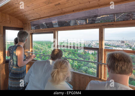 Riesenrad tourists Vienna, the view from inside the Riesenrad ferris wheel, famously featured in the 1949 film The - Stock Photo