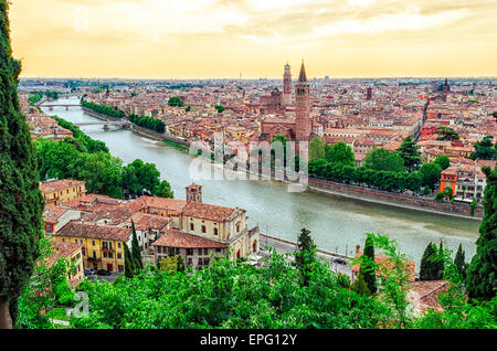 Verona Italy panorama with river Adige at sunset - Stock Photo