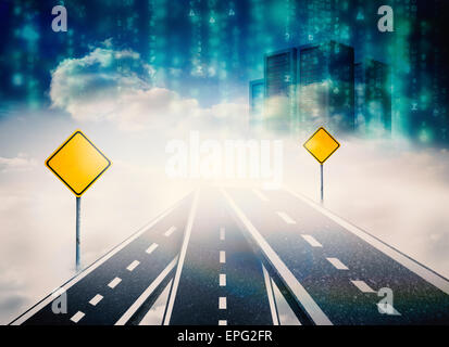 Composite image of road over clouds with road signs on it - Stock Photo