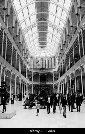 National Museum of Scotland in Edinburgh on a busy Sunday. - Stock Photo