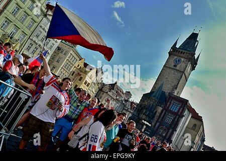 May 17, 2015, Prague In Czech republic. Czech fans in Old Town square during Ice Hockey championship. May 17, 2015, - Stock Photo