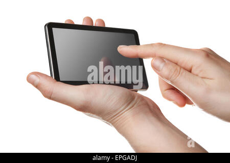 tablet pc with touch screen in hands isolated - Stock Photo