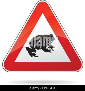 illustration of triangular warning sign for toads - Stock Photo