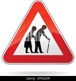 illustration of triangular warning sign for pedestrians - Stock Photo
