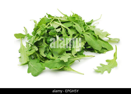 rucola leaves on white background - Stock Photo