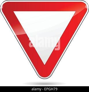 illustration of design yield triangular road sign - Stock Photo
