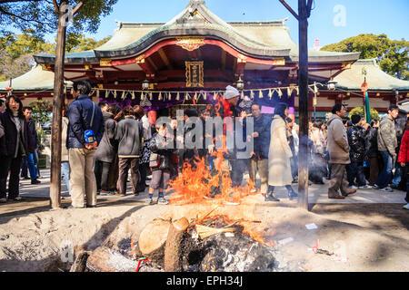 Japan, Nishinomiya shrine. New year, Shogatsu. Bonfire with shrine in background. People crowded around throwing - Stock Photo