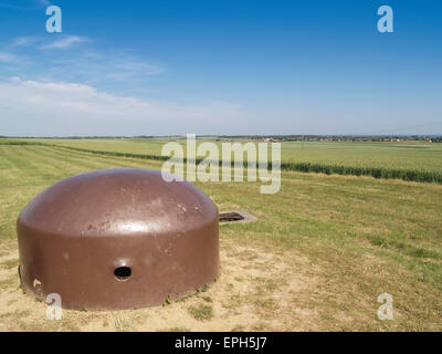 Cupola of the Hillman strongpoint taken by Suffolk Regiment, 6th June 1944 D-Day from Sword Beach, Colleville Montgomery - Stock Photo