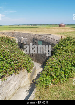 Bunker of the Hillman strongpoint taken by Suffolk Regiment, 6th June 1944 D-Day from Sword Beach, Colleville Montgomery - Stock Photo