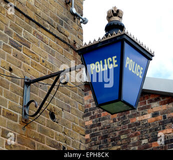Police wall lamp at the Historic Dockyard, Chatham, Kent, ME4 4TE - Stock Photo