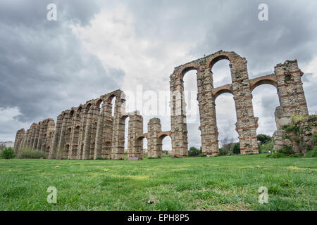 Side view of Aqueduct of the Miracles in Merida - Stock Photo