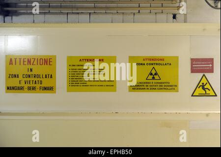 Caorso nuclear power station (Italy), in the process of deactivation; entrance in controlled area at risk radiation - Stock Photo