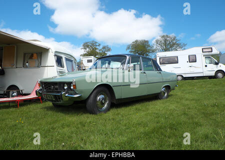 Rover P6 3500 V8 saloon this example registered in 1972 parked in among caravans. Production continued to 1977. - Stock Photo