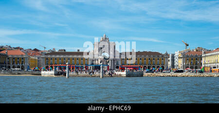 The Praca do Comercio viewed from the River Tagus, Lisbon. - Stock Photo