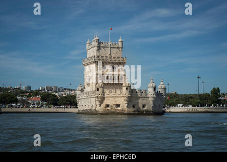 Torre de Belem (tower of Belem) viewed from the River Tagus in Lisbon Portugal - Stock Photo