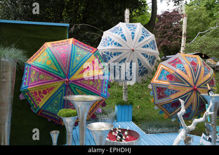 Colourful umbrellas on display at the RHS Chelsea flower show 2015 - Stock Photo