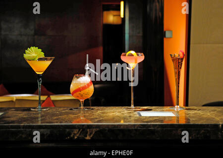 Cocktails on a bar at the Mandarin Oriental Hotel, Knightsbridge, London, England, UK - Stock Photo