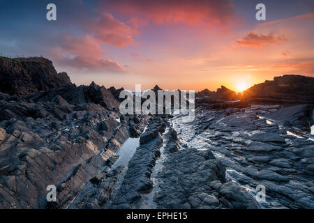 The rugged north Devon coast at Hartland Quay near Bideford - Stock Photo