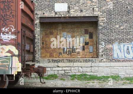 Industrial Warehouse With Graffiti Spray Painted On The
