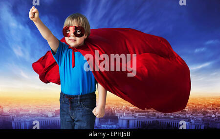 Comic style picture of a little superhero - Stock Photo