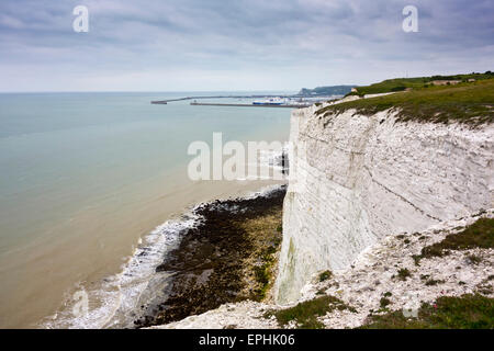 white cliffs Dover South Foreland Coast path footpath coastal - Stock Photo