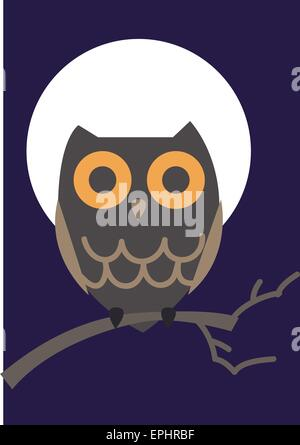 Vector illustration of an owl with moon in the back. - Stock Photo