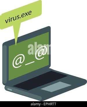 Vector illustration of computer virus attacking laptop. - Stock Photo