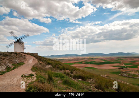 View of windmill in Consuegra, Spain - Stock Photo