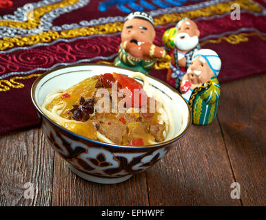 oriental uzbek soup lagman - Stock Photo