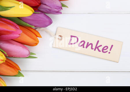 Danke mit Tulpen Blumen - Stock Photo