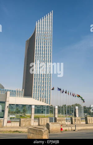 The African Union's headquarters building in Addis Ababa. It is the tallest building in Addis Ababa - Stock Photo