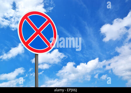 Road sign and blue sky. Isolated design. - Stock Photo
