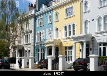 Colourful houses in Elgin Crescent on the Ladbroke Estate, Notting Hill, London. - Stock Photo