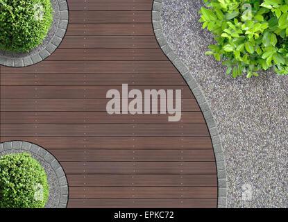 aesthetic garden design detail seen from above - Stock Photo