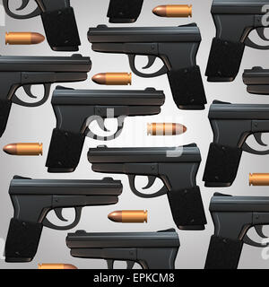 Gun and bullet background for legal social issues and firearm laws concept as a generic three dimensional handgun - Stock Photo
