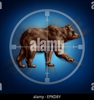 Bear market target business concept as an icon of targeting investor doubt and lack of confidence in stock trading - Stock Photo