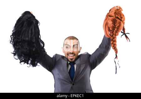 Funny businessman with female wig isolated on white - Stock Photo