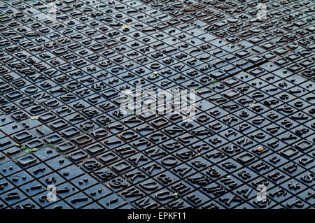 cast iron letters and numbers flooring in norfolk england uk europe stock photo