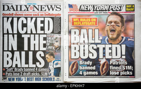 Headlines of the New York Daily News and Post  newspapers on Tuesday, May 12, 2015 report on the suspension for - Stock Photo