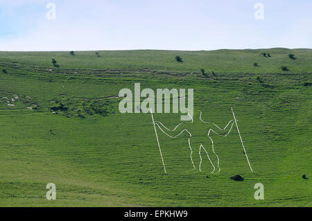 Long Man of Wilmington near Eastbourne, England, Great Britain, Europe - Stock Photo