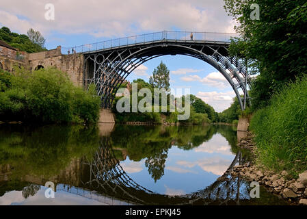 First iron bridge in the world was built by Abraham Darby III River Severn at Ironbridge Shropshire England UK Europe - Stock Photo