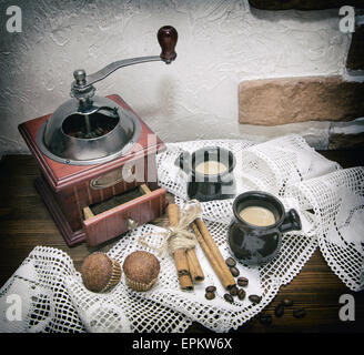 coffee mill, photo in old image style. - Stock Photo