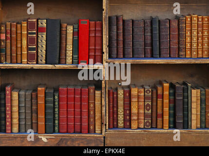 Vintage books in old bookcase - Stock Photo