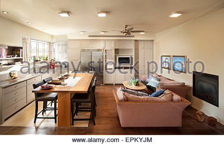 Kitchen With Dining Table And Sofa In Villa Bet Itzhak Israel