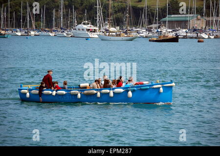 The Castle Ferry on the River Dart carrying passengers to Dartmouth Castle. - Stock Photo